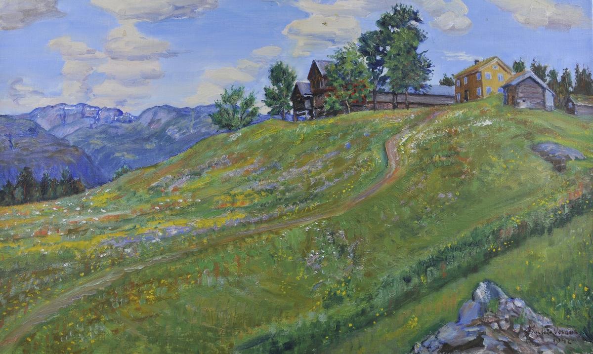 Gamal gard i bakkete landskap med fjell i bakgrunnen. Frå Vesås i Vinje.