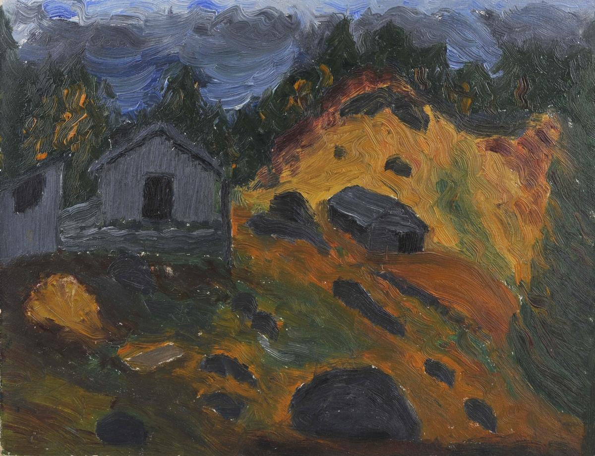 Hytter/hus i skråning med skog bak.