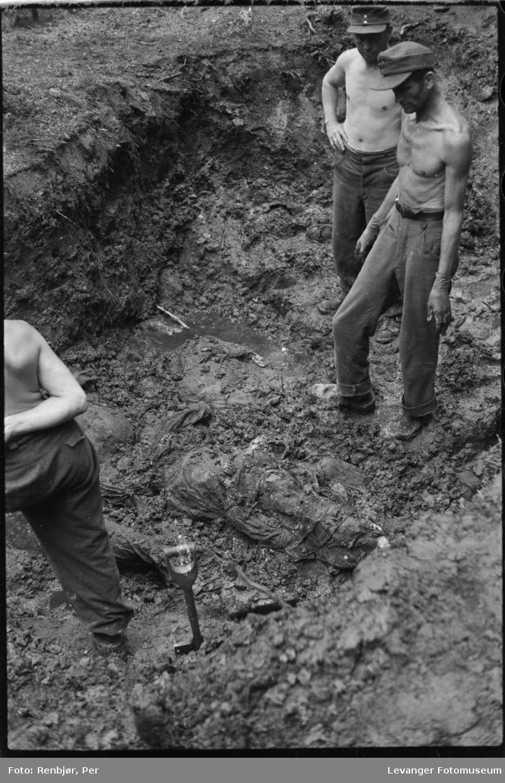 Åpning av graver i krigsfangeleiren på Falstad.Falstadskogen var henrettelsesplass og gravsted. .