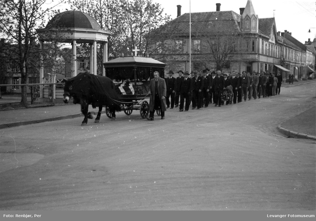 Begravelsesvogn med hest iført skaberakk. Flytting av levningene av russiske, sovjetiske krigsfanger fra Moan i Levanger til Levanger kirkegård.