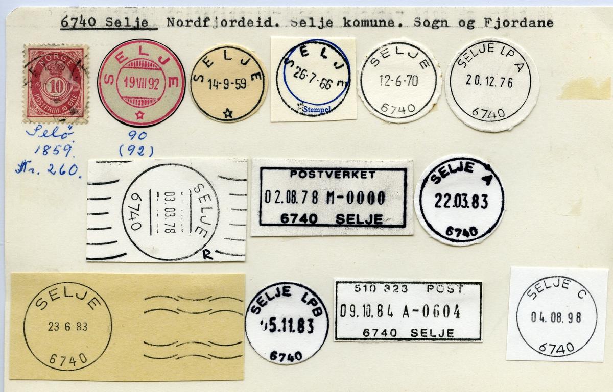 Stempelkatalog   6740 Selje, Selje kommune, Sogn og Fjordane (Selø 1859)