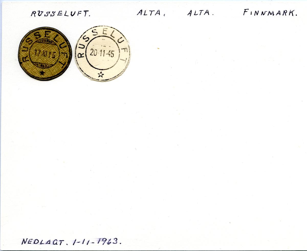 Stempelkatalog Russeluft, Alta, Finnmark