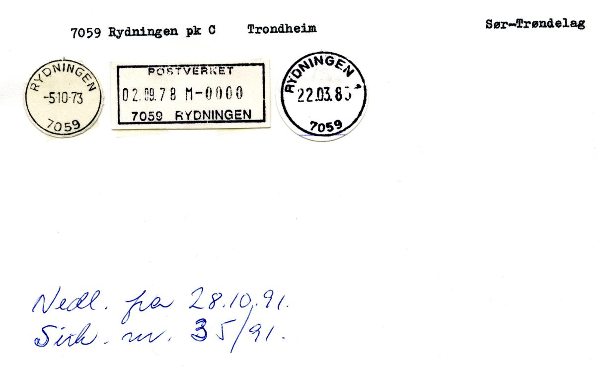 Stempelkatalog 7059 Rydningen, Trondheim, Sør-Trøndelag
