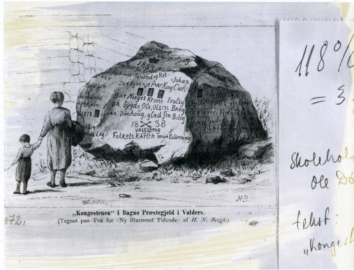 "Teikning av ""kongesteinen"" i Bagn, trykt i Ny illustreret Tidende"
