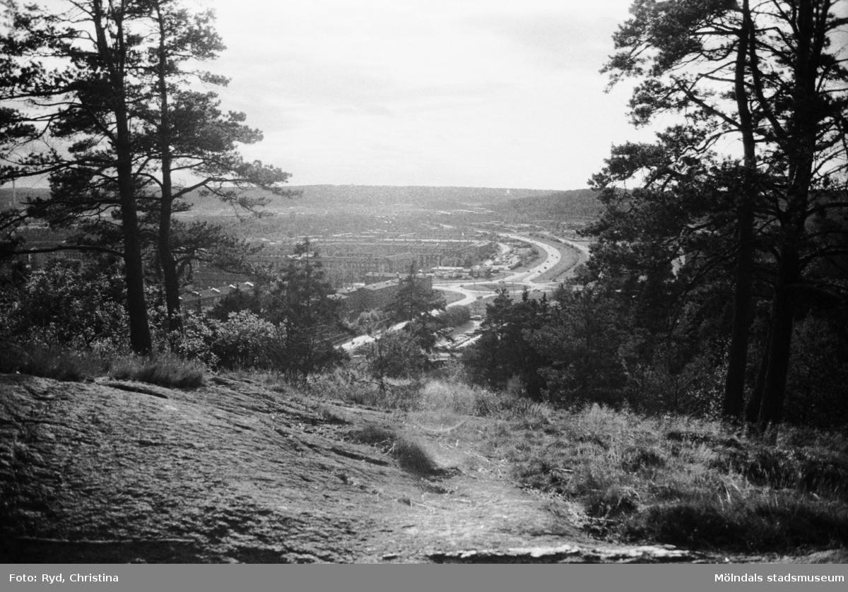 Utsikt från rastplats och utsiktsplats på sydöstra delen av Safjället eller Toltorpsberget (ovanför Bifrostgatan), fotograferad 30/10 1991.