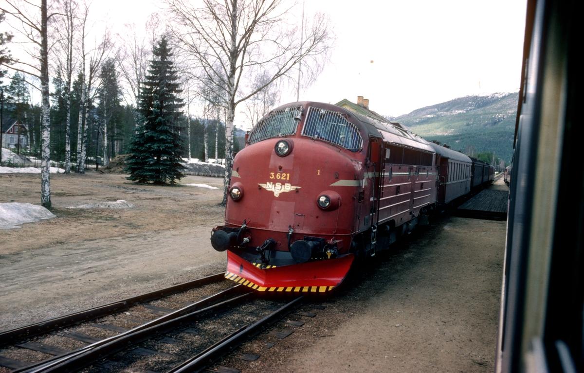 Kryssing i Atna stasjon mellom ekstra påsketog og dagtoget, tog 301. Påsketoget er tomtog som returnerer fra Røros.