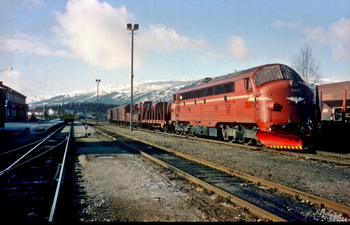 Godstog 5771 Trondheim - Majavatn i Grong stasjon med NSB dieselelektrisk lokomotiv Di 3 619. Dette underveisgodstoget skiftet ved alle stasjoner fra Stjørdal til Majavatn, og det ble byttet personale i Steinkjer og Grong. Toget hadde konduktørbetjening. Fotografen skulle tjenestegjøre som lokomotivførerassistent Grong - Majavatn - Grong.