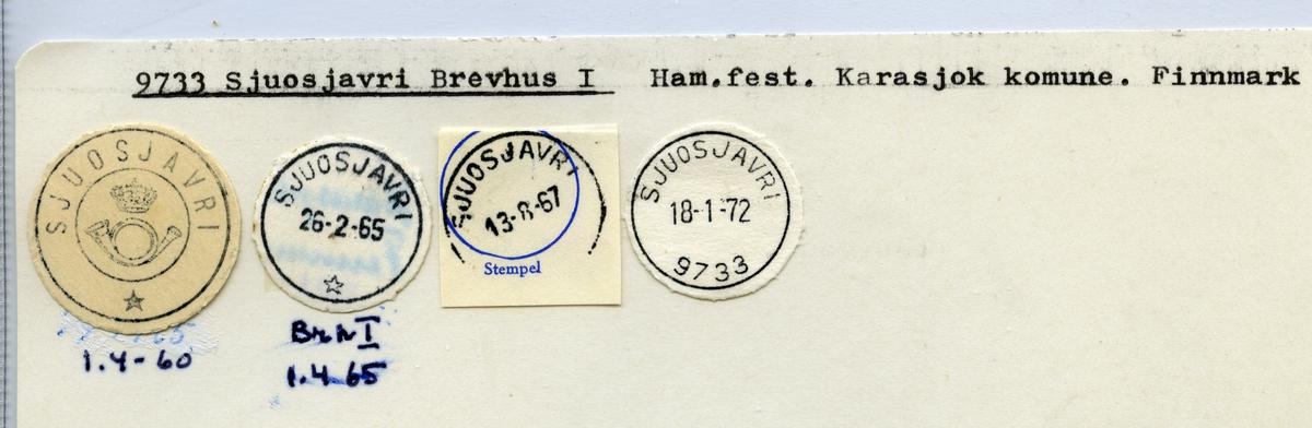 Stempelkatalog 9733 Sjuosjavri, Karasjok kommune, Finnmark