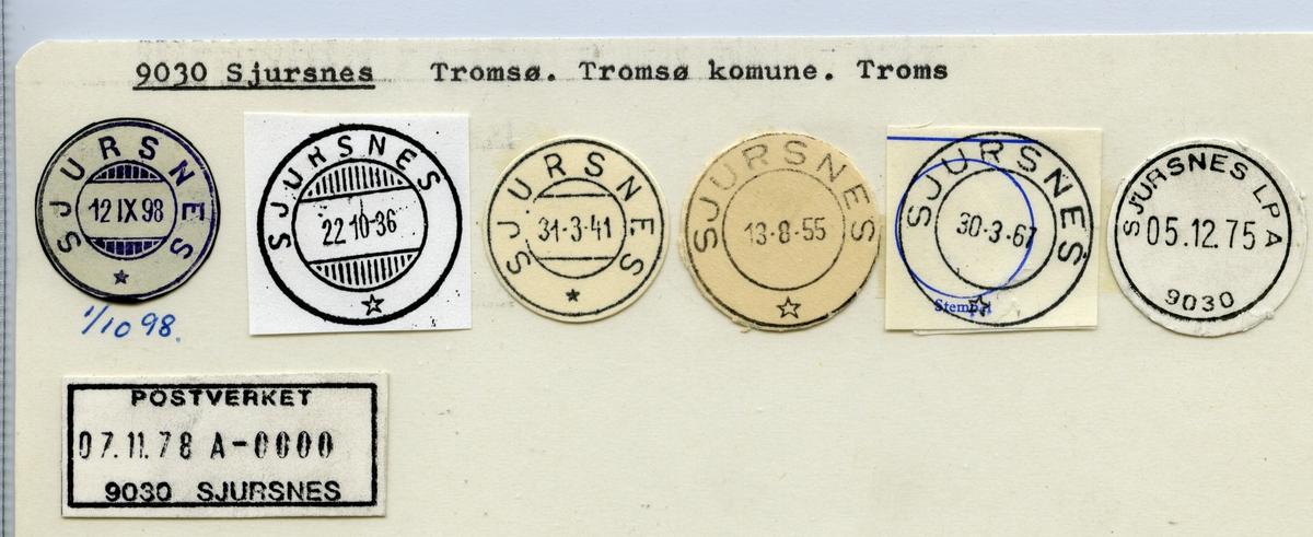 Stempelkatalog  9030 Sjursnes, Tromsø kommune, Troms