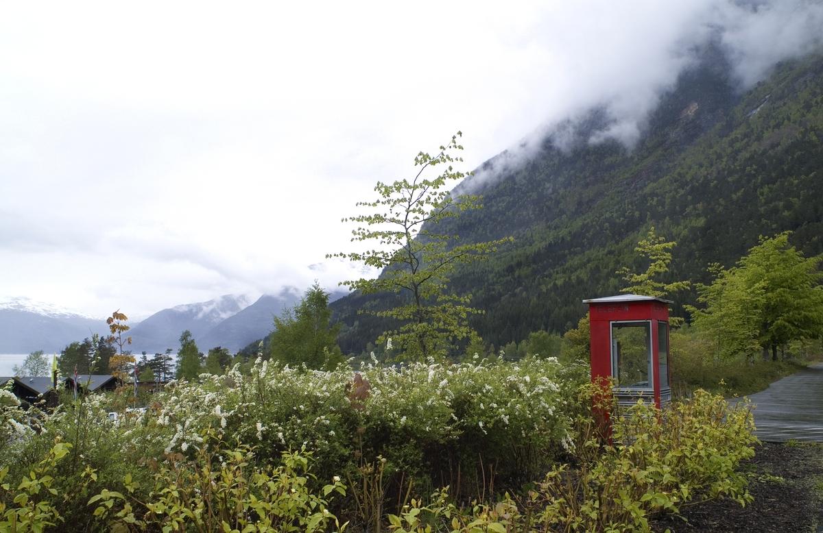 Telefonkiosken står i Hardanger Folkepark, Kinsarvik, og er en av de 100 vernede telefonkioskene i Norge. De røde telefonkioskene ble laget av hovedverkstedet til Telenor (Telegrafverket, Televerket). Målene er så å si uforandret.  Vi har dessverre ikke hatt kapasitet til å gjøre grundige mål av hver enkelt kiosk som er vernet.  Blant annet er vekten og høyden på døra endret fra tegningene til hovedverkstedet fra 1933. Målene fra 1933 var: Høyde 2500 mm + sokkel på ca 70 mm Grunnflate 1000x1000 mm. Vekt 850 kg. Mange av oss har minner knyttet til den lille røde bygningen. Historien om telefonkiosken er på mange måter historien om oss.  Derfor ble 100 av de røde telefonkioskene rundt om i landet vernet i 1997. Dette er en av dem.