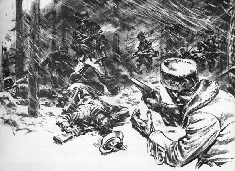Tyskerne stormer stillingen ved Gullbekkfortet
