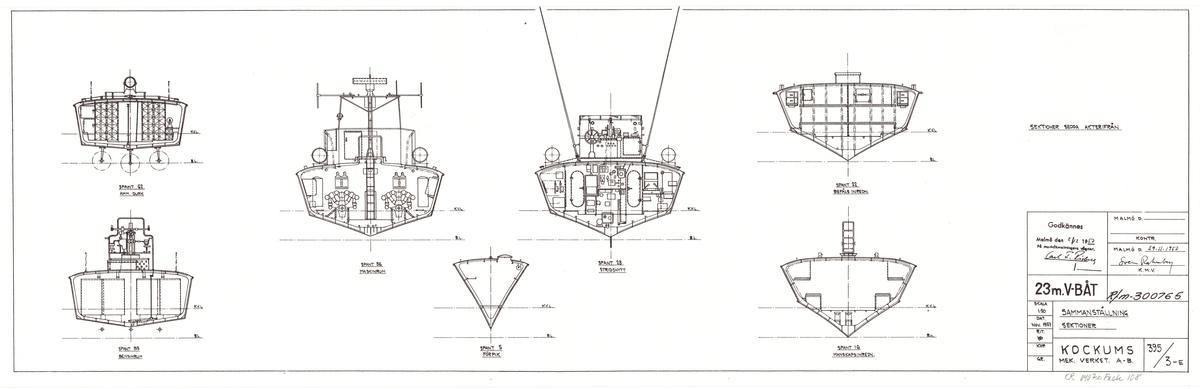 23 meters v-båt. Sammanställningsritning sidovy,däcksplan, sektion i fart, inredningsplan och sektioner
