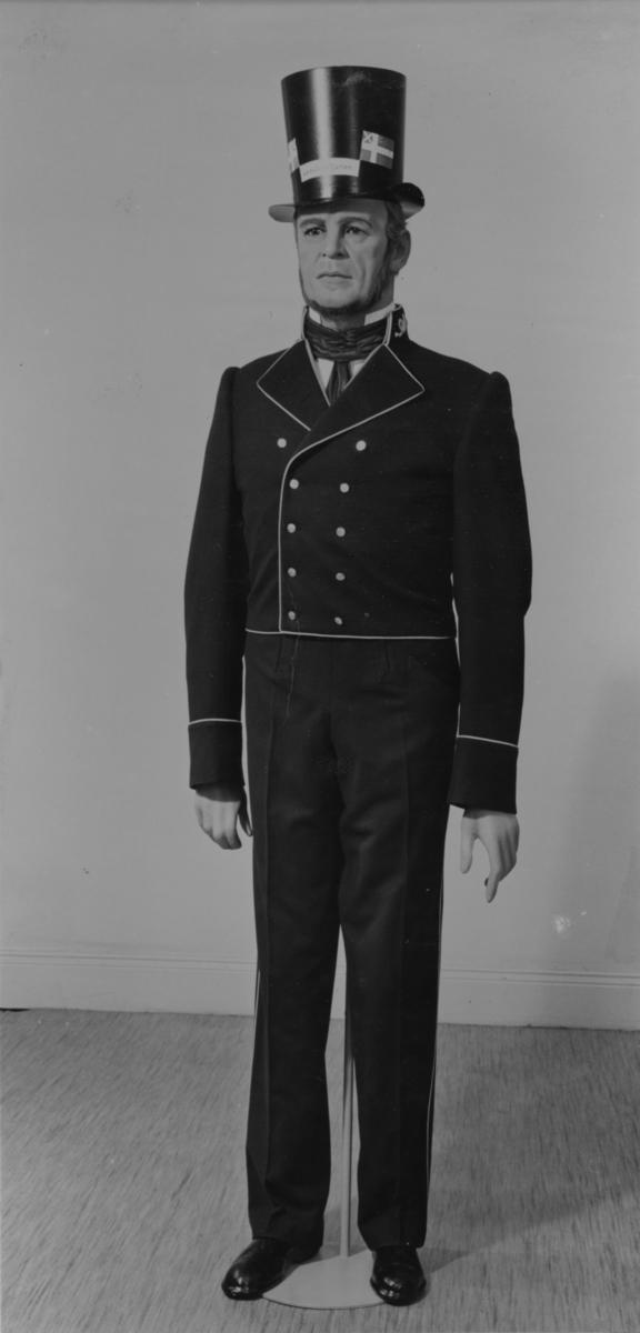 Uniform för båtsman å postångaren Constitutionen. 1830-talet. (kopia). Ur Postmusei samlingar.