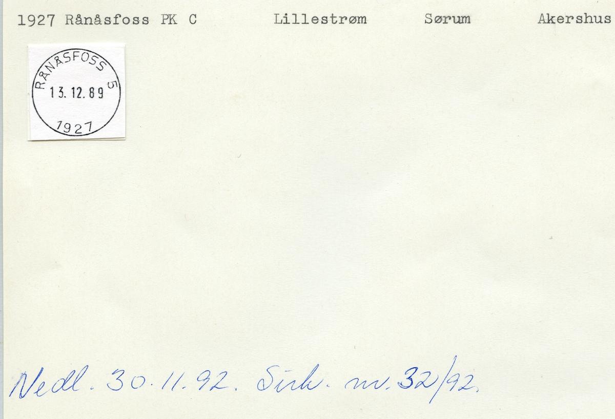 Stempelkatalog 2185 Rånåsfoss, Lillestrøm, Sørum, Akershus