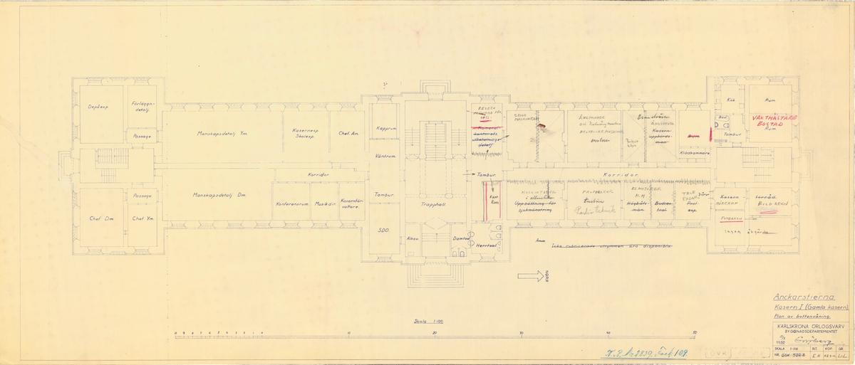 Kasern Ankarstjärna, plan av bottenvåningen