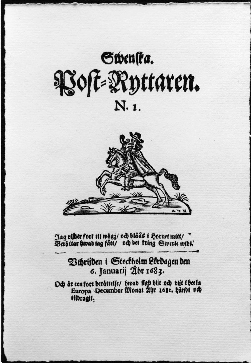 """Postryttare, träsnitt från 1683 i """"Svenska Postryttaren"""" nr 1, förlaga till frimärket """"Postryttaren"""" i utgåvan """"Världspostföreningen 50 år"""", 1924."""