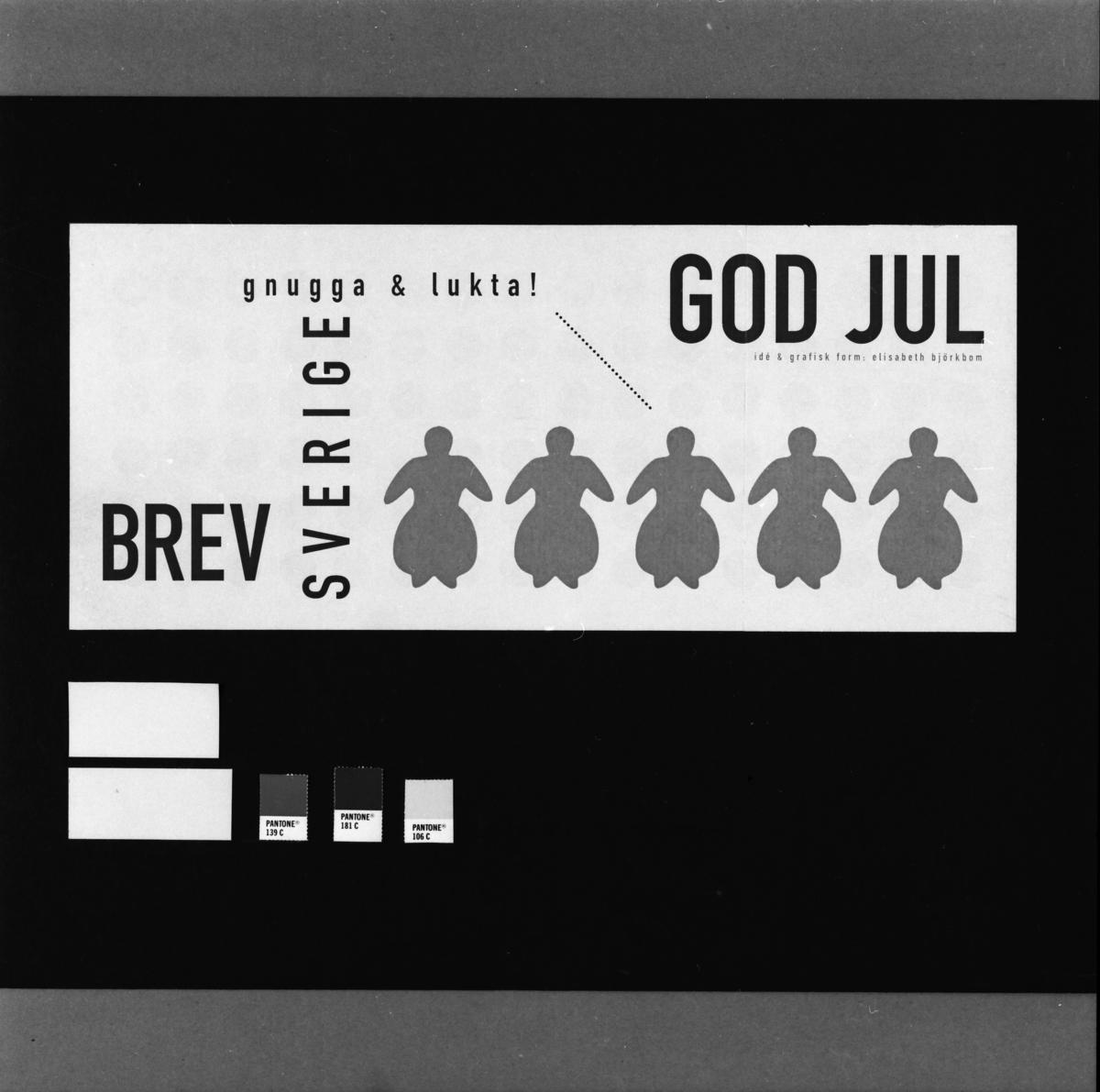 """Originalteckning till frimärket """"Pepparkaksgummor"""" för frimärksutgåvan Inrikes julpost, 1997."""