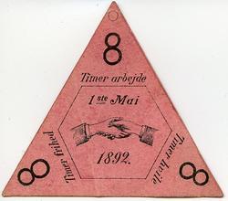Arbeiderpartiets første 1. mai-merke fra 1892