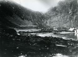 Panoramabilde av fiskeværet Kjelvik. Bilde er sammensatt av