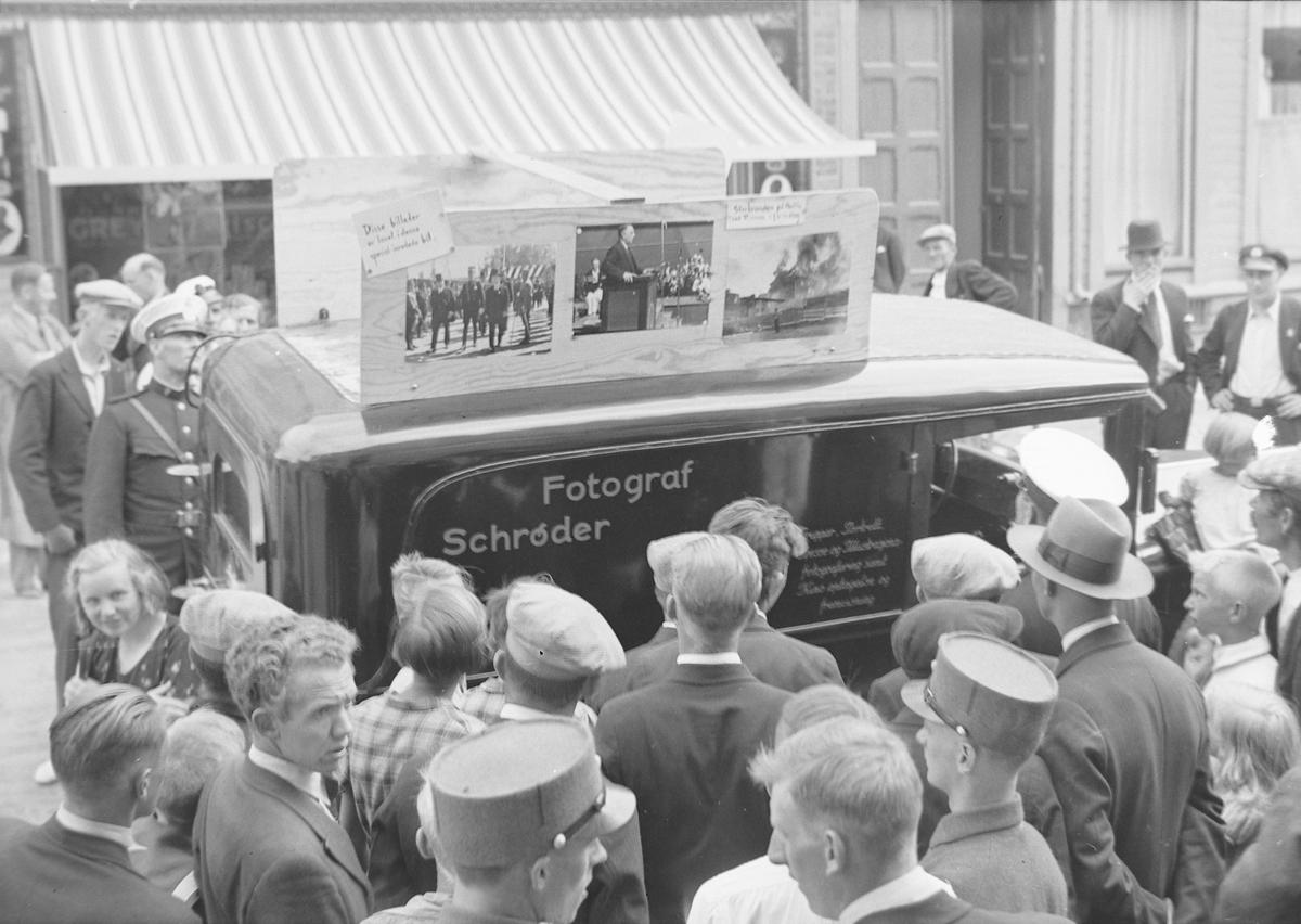 Jubileumsutstillingen i Levanger 1936 - Schrøders rullende fotolab.