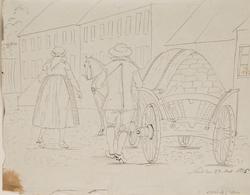 Lund 1826. Stadsbild med män och kvinnor. Baksida man och kv
