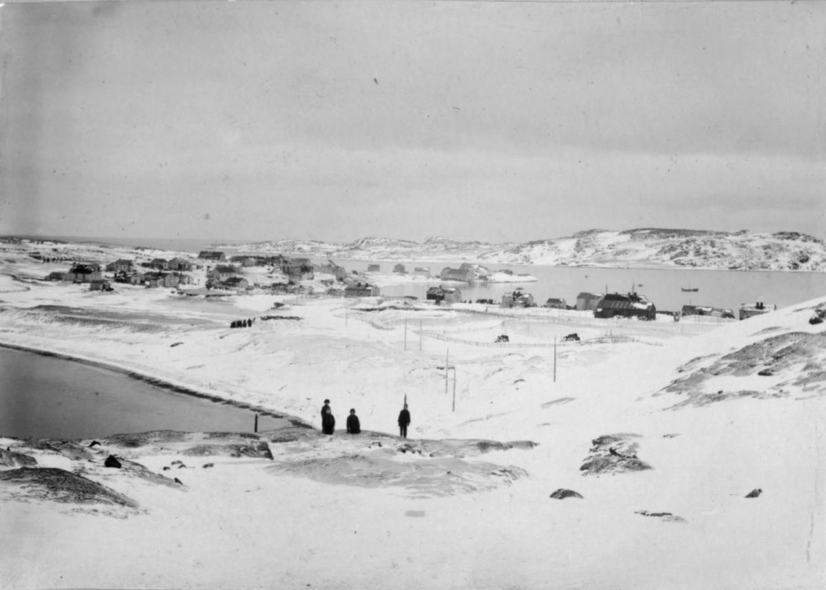 Fire personer i snødekt landskap, Bugøynes