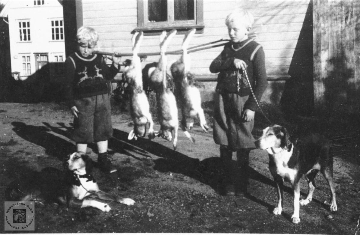 Bent August og Kjell Tor Skeibrok viser resultat av harejakt i Bjelland