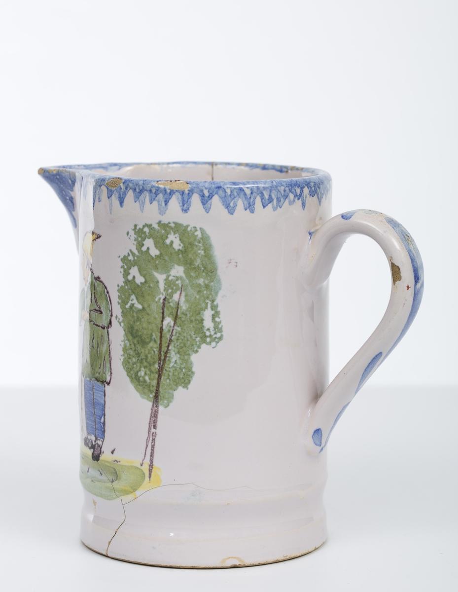 Kvinnefigur og mannsfigur, trær. Blå kantornamentikk