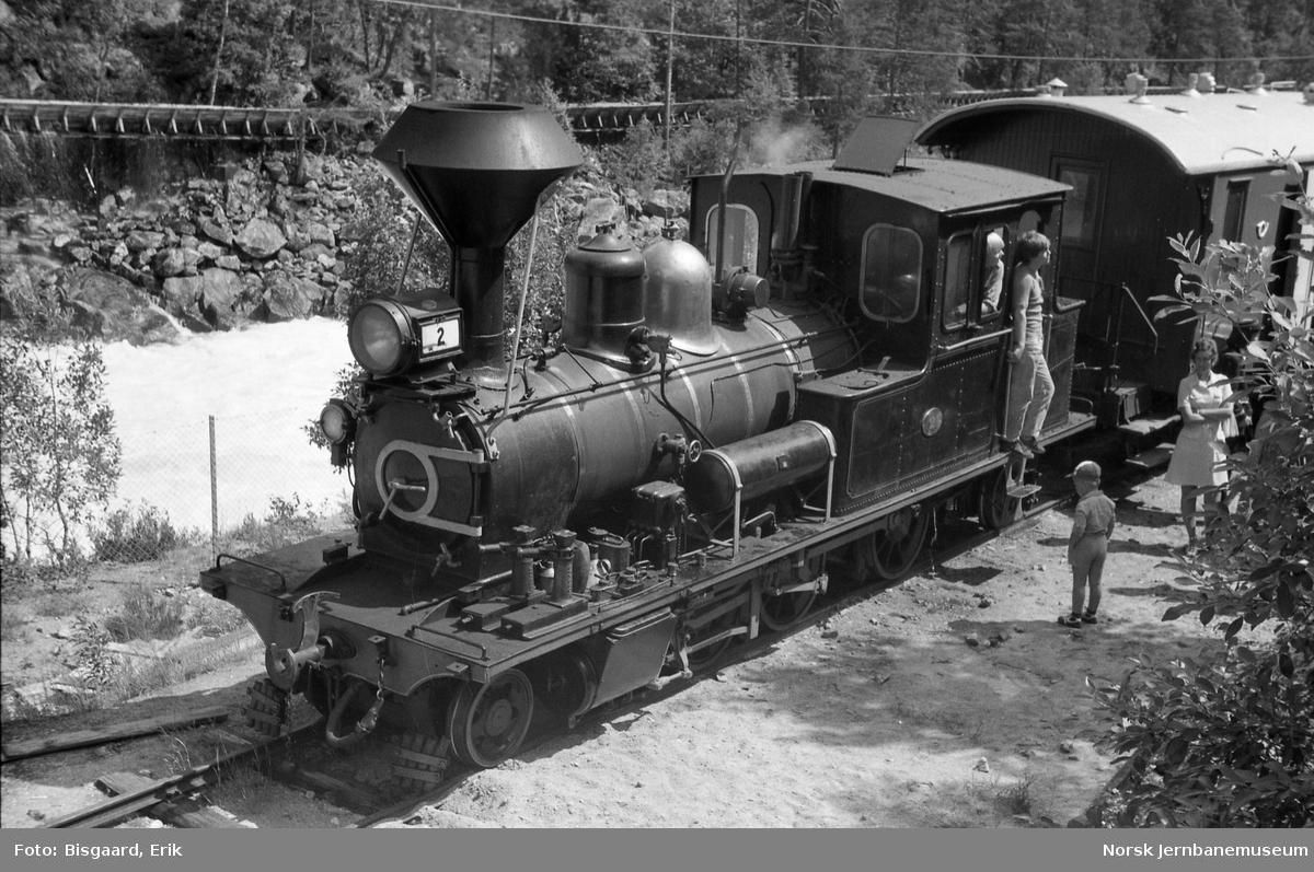 Damplokomotiv nr. 2 med tog på Setesdalsbanen - endestasjonen på Beihølen