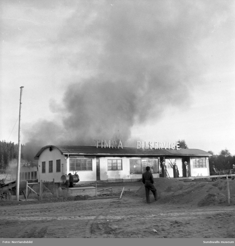 Timrå Bilservice brandhärjas 1953.