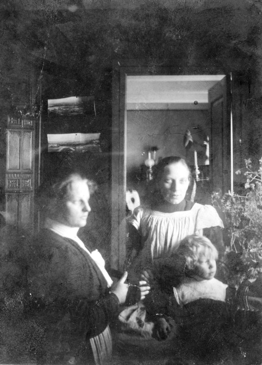 """""""Frøken Bergliot Larson og fru sogneprest Olsen. Lille Kristian i prestegården Loppen."""" Frøken Bergljot Larsson (født.1883). Bergljot var barnepike/guvernante hos sognepresten. Bergljot Larsson er mest kjent som  stifteren av Norges sykepleierforbund: https://nbl.snl.no/Bergljot_Larsson  """"Fru sogneprest Olsen"""";  Anna Olsen (født 1872) gift med  Martin Olsen (født.1867).  Martin Olsen  var sogneprest i Loppa fra 1897-1904.  """"Lille Kristian"""";   Hans Kristian  Olsen (født 1899).  Antatt datering av bildet 1901-02.  Bildet er tatt i  den gamle prestegården  på Loppa fra 1801. Den ble erstattet av en ny hovedbygning i 1902-03"""