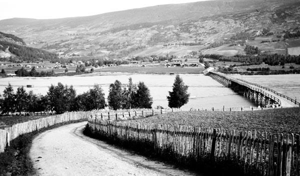 Landskapsfotografi fra Vågå i Nord-Gudbrandsdalen, slik det så ut der i 1913.  Bildet er tatt fra bygdevegen på sørsida av Vågåvatnet, som like øst for dette stedet renner ut i elva Otta.  Den lange trebrua på bildet kaltes følgelig for «Sundbrui».  Den førte over til et oppdyrket sletteland (Vollen), der elva Finna rant inn i Otta.  Kommunesenteret Vågåmo har seinere vokst fram på denne elvesletta.  Fotografiet viser ellers hvordan den solvendte lia mot fjellet øst for Vågåmo var oppdyrket og bebygd så langt oppover det var mulig å drive jordbruk.  Til venstre i bildet ser vi den bratte sørendene av Prestberget, der det vokste skog, som det ellers var lite av i denne regionen.  I forgrunnen er det gjerdet på begge sider av bygdevegen som er mest iøynefallende.  Det var bygd som et slags stakitt med halvgrove kvister som sprosser.  Ottavassdraget fikk egen fellesfløtningsforening i 1910, tre år før dette fotografiet ble tatt.  Av det første fløtingsreglementet framgår det at Sundbrua var skillet mellom andre og tredje fløtingsrote, se fanen «Opplysninger».