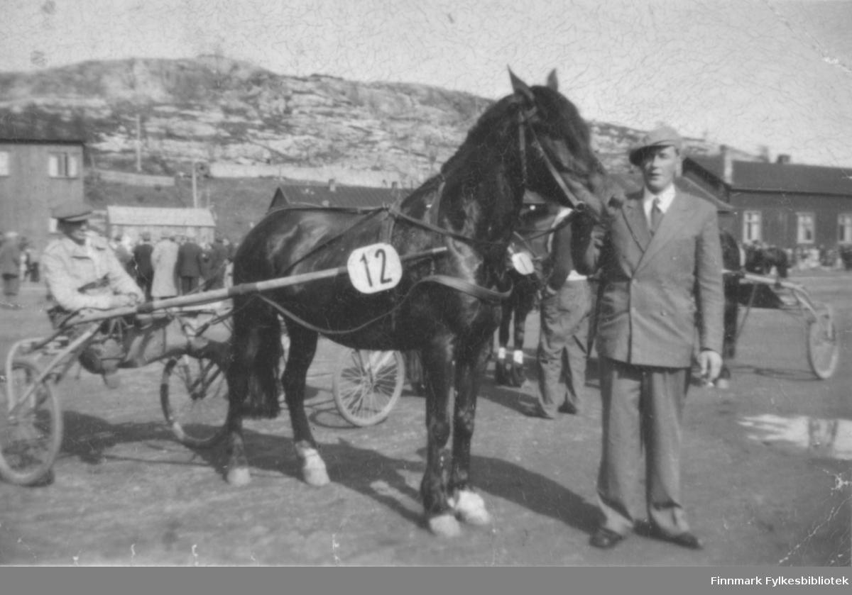 Kusken Emil Sukuvara har vunnet første premien i et travløp i Kirkenes med Arnulf Baunas hest Svanslira.