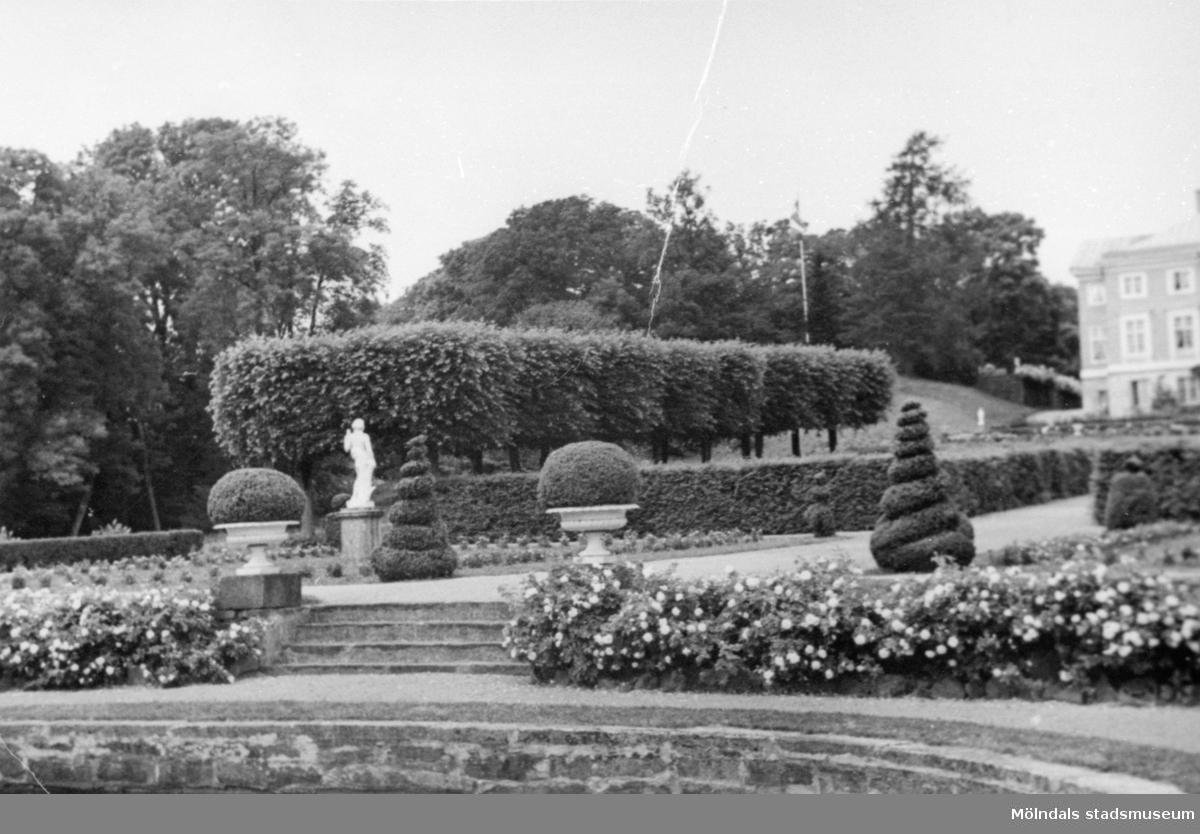 Gunnebo slottspark med dammen i förgrunden, 1920-tal.