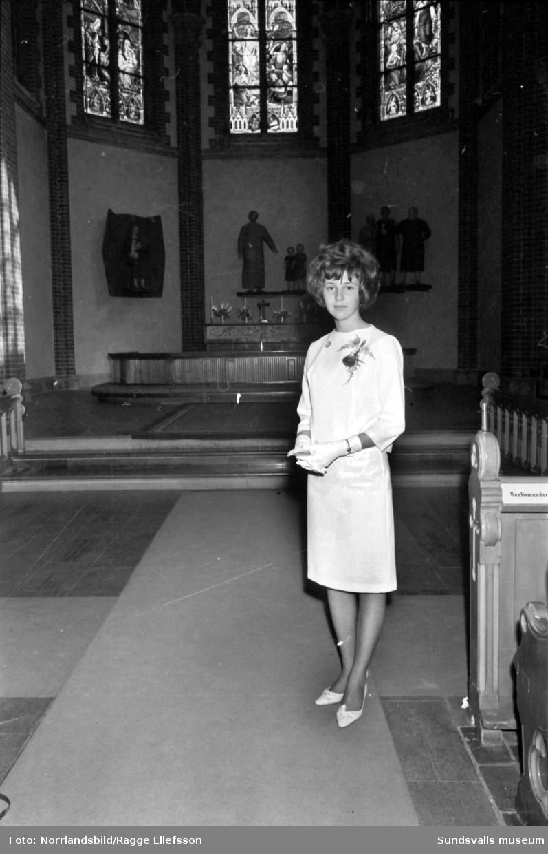 Konfirmation i GA-kyrkan. En av konfirmanderna är Kerstin Selin.