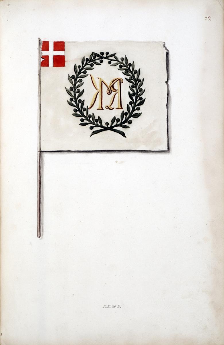 Avbildning i gouache föreställande kvartersfana tagen som trofé av svenska armén. Den avbildade kvartersfanan finns bevarad i Armémuseums samling, för mer information, se relaterade objekt.