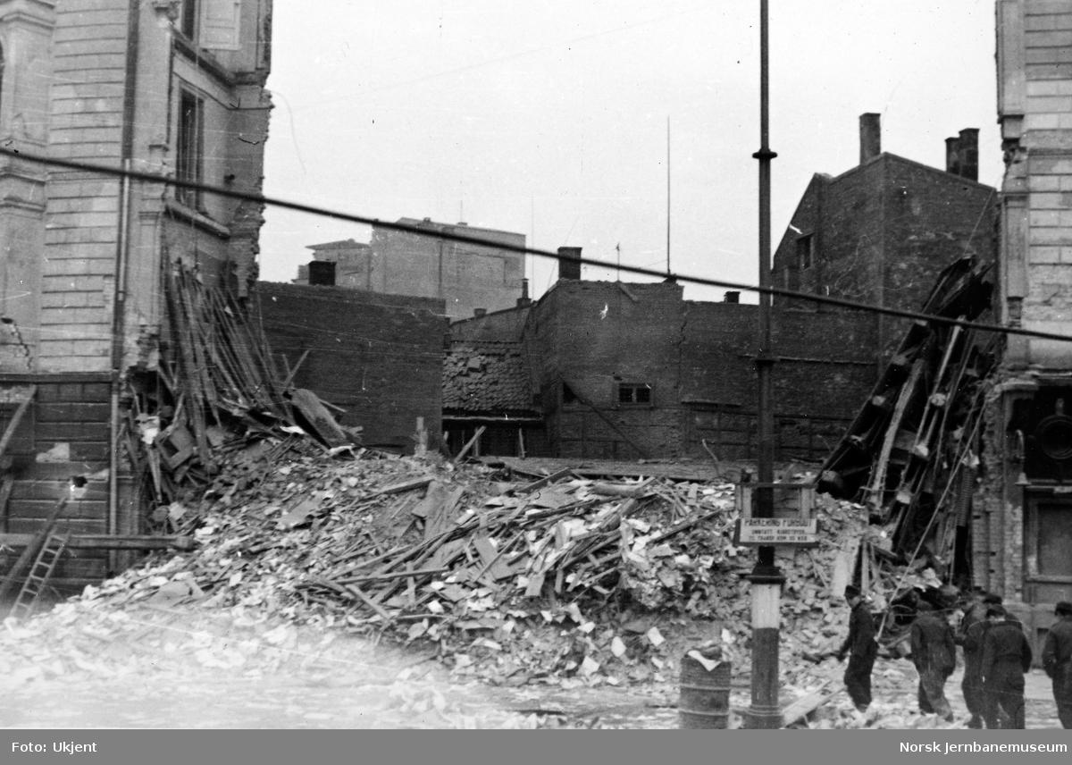 Hovedstyrets kontorbygning på Jernbanetorget etter sprenging i 1945