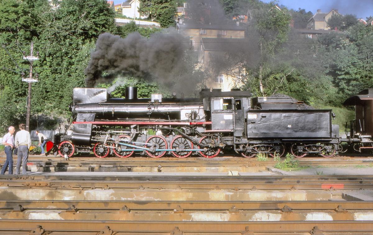 """Damplokomotiv 26c 411 på Marienborg i forbindelse med ekstratog """"to Hell with Steam""""."""