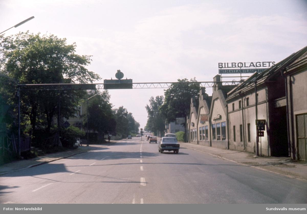 Kvarteren vid Bergsgatan, Esplanaden, Östra Långgatan och Nybrogatan där hela kvarteret Debet ska rivas för bygge av Folkets hus, hotell och bensinstation.