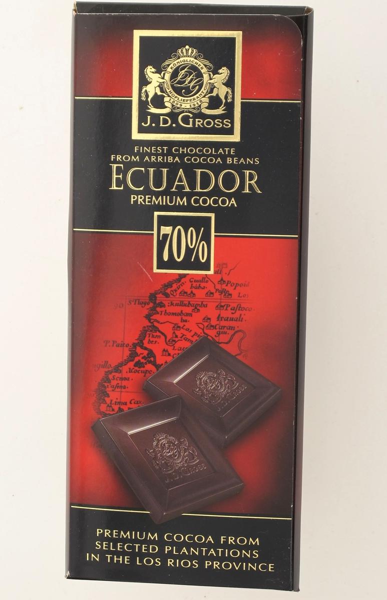 Sjokolade, mot et gammelt kart over Ecuador.