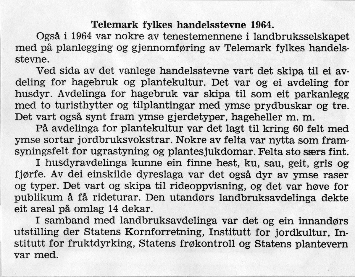 Frå årsrapporten til Telemark fylkes handelsstemne, 1964.