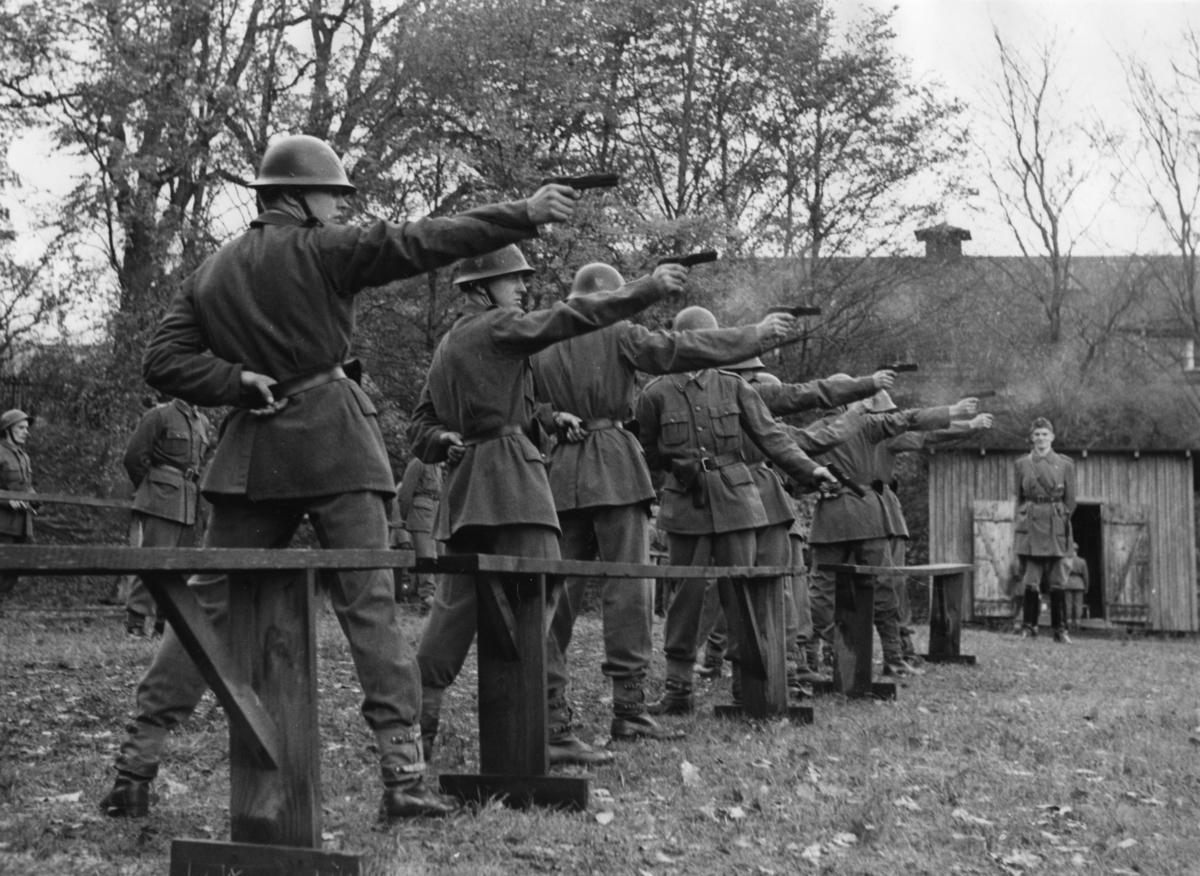 Inspektion, A 6. Regementschefens inspektion, pistolskjutning 3.Batt.