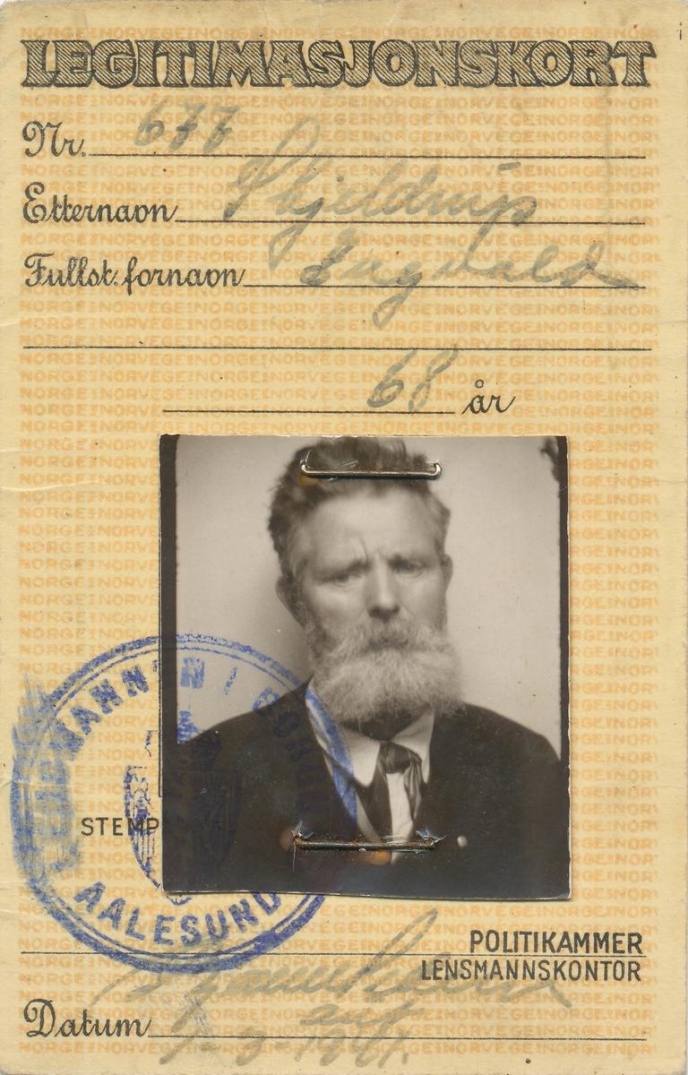 Legitimasjonskort for Ingvald Skjeldrup fra 1941.
