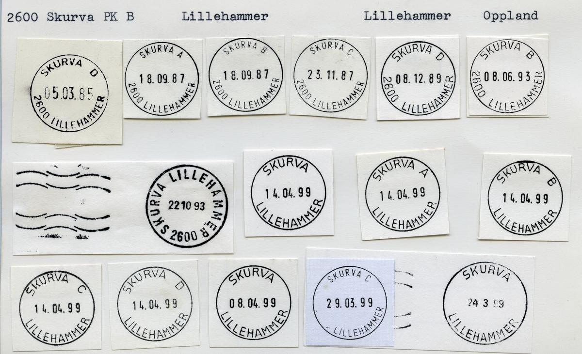 Stempelkatalog  Skurva 2600 Lillehammer, Lillehammer kommune, Oppland
