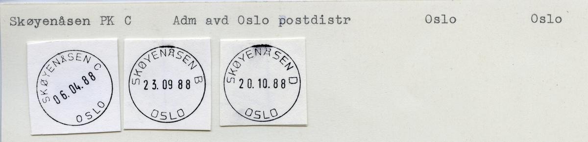 Stempelkatalog Skøyenåsen, Oslo kommune, Oslo