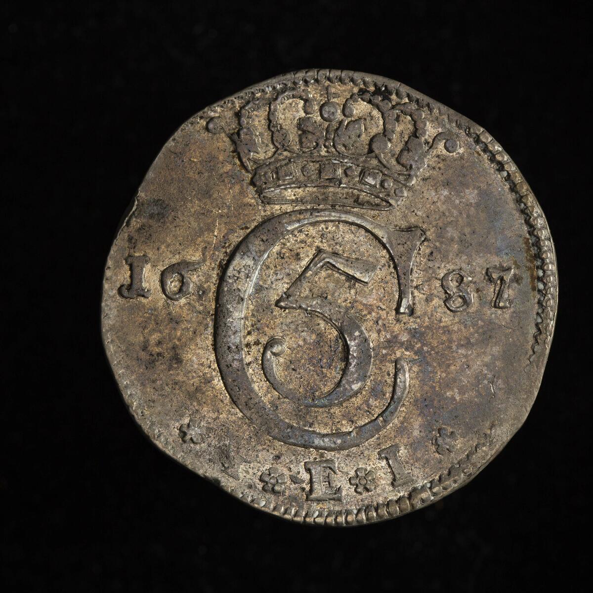 Mynt fra 1687, Christian den 5 (Foto/Photo)