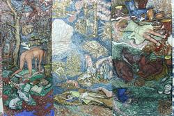 Vanessa Baird  I don't want to be anywhere, but here I am (2015)  18 paneler tegning på grafikkpapir/ drawings on 18 panels printmaking paper (Foto/Photo)