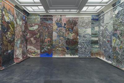 Vanessa Baird; I don't want to be anywhere, but here I am (2015). 18 paneler tegning på grafikkpapir/ drawings on 18 panels printmaking paper (Foto/Photo)