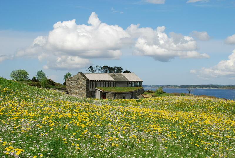 Bygning i idyllisk landskap med blomstereng, Lyngheisenteret på Lygra (Foto/Photo)