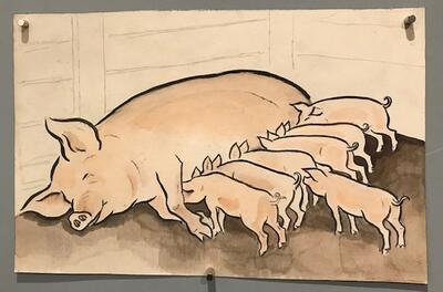 "William Lunden, original tegning til ikonisk ""Gris"" julekort fra 1943, 21x13cm, kr 3000 Selges på vegne av familien. (Foto/Photo)"